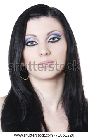 blue and purple makeup. stock photo : Attractive brunette woman with lue and purple makeup