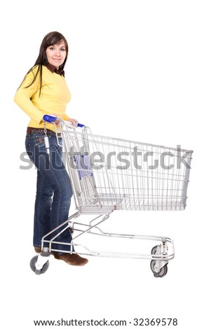 attractive brunette woman with shopping cart