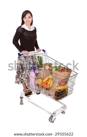 attractive brunette woman with shopping cart. over white background
