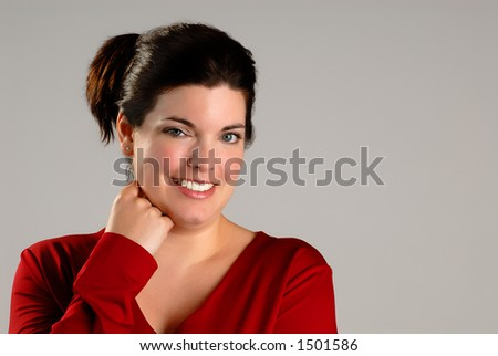 Attractive Brunette Young Woman With Casual Red Top (Horizontal) Copyspace
