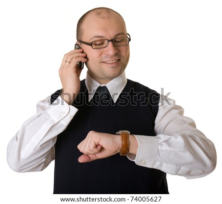 Attractive business man talking on the phone.