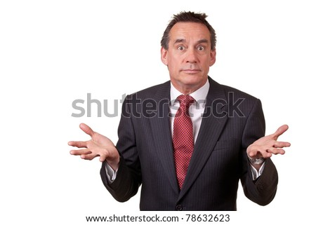 Attractive Business Man with Surprised Expression and Open Hands - stock photo