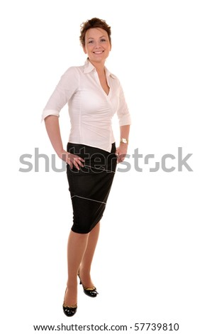 Attractive business woman full-length isolated on white background