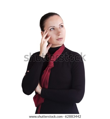 Attractive business woman in red tie dreaming