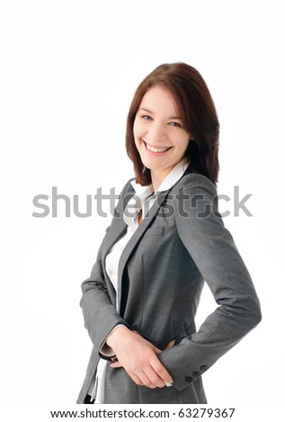 Attractive business woman looking at camera
