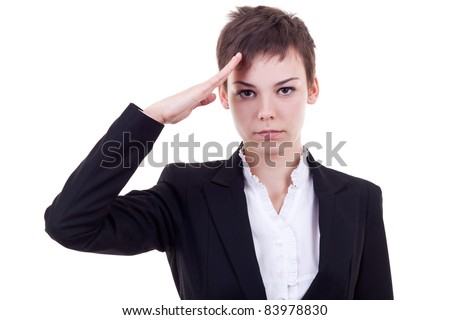 Attractive business woman saluting over white background