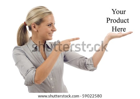 Attractive business woman shows your text - presentation, isolated over a white background