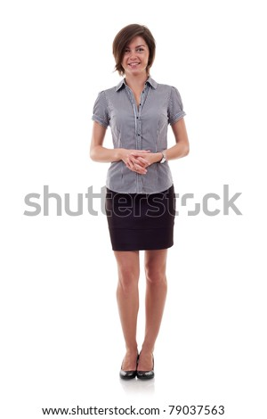 attractive business woman standing on a white background - stock photo