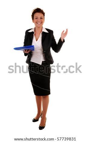 Attractive business woman with documents and invitation gesture standing on white background