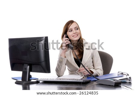 Attractive business women  very busy on the phone