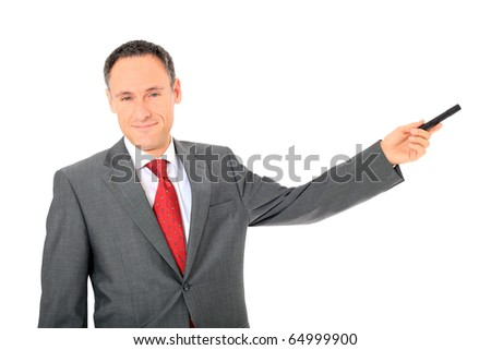 Attractive businessman during a presentation. All on white background.