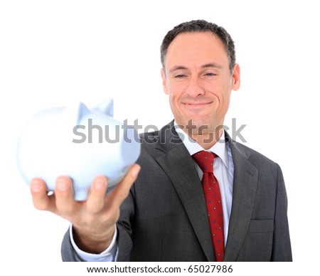 Attractive businessman holding piggy bank. All on white background