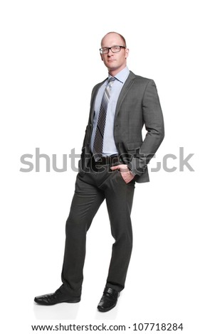 attractive businessman standing on isolated background