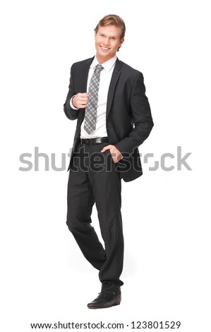 Attractive businessman with a smile on his face. Full length portrait of handsome business person holding his jacket. Isolated on white background