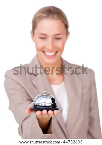 Attractive businesswoman holding a service bell against a white background