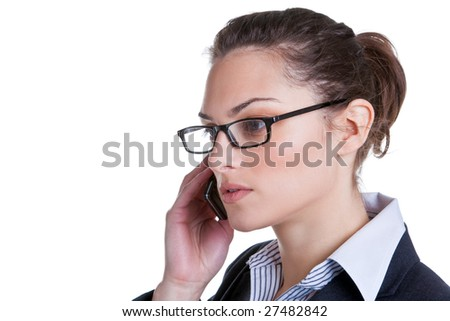 Attractive businesswoman making a phonecall, isolated on white background. - stock photo
