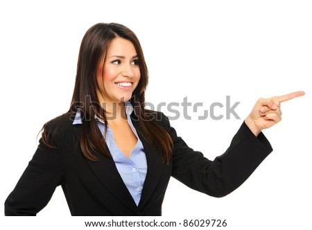 Attractive businesswoman pointing to the right of the screen, isolated on white