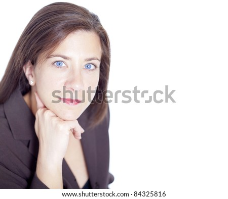 Attractive businesswoman resting head on hands on white