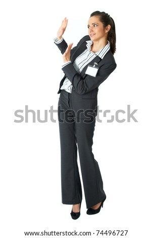 attractive businesswoman shows stop gesture, saying thanks but no, isolated on white