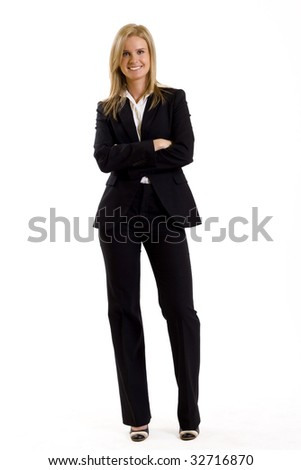 attractive businesswoman standing on a white background