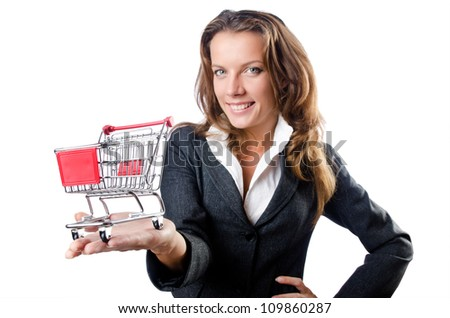 Attractive businesswoman with shopping cart