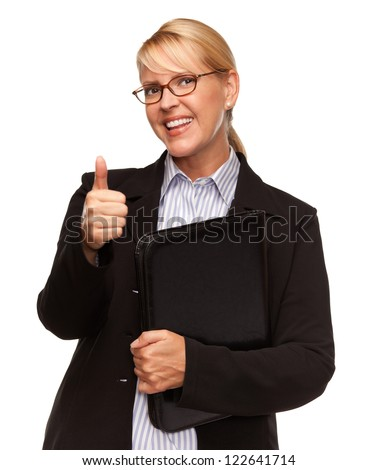Attractive Businesswoman with Thumbs Up Isolated on a White Background.