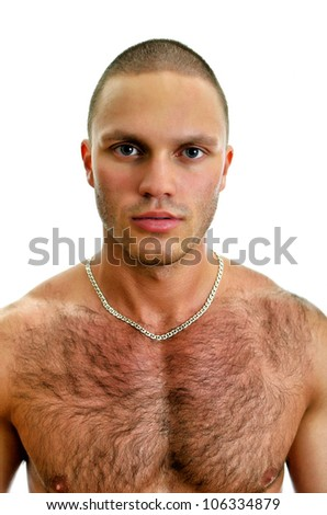 Attractive caucasian man portrait. Isolated on white.