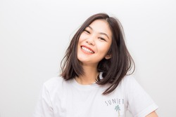 Attractive Cheerful asian young smiling to camera on white background