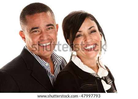 Attractive cheerful Hispanic couple on white background