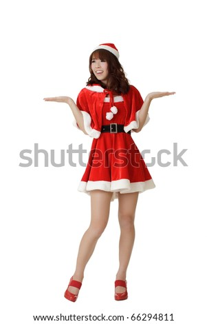 Attractive Christmas girl wear Santa Claus clothes open arms and feel surprised isolated on white.