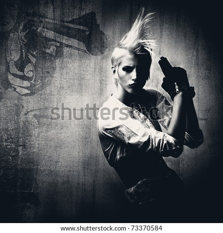 attractive comic blond girl with gun