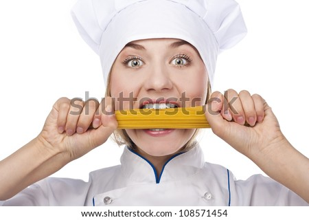 Attractive cook with Italian pasta. Over white background.