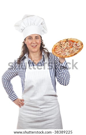 Attractive cook woman holding a tasty Italian pizza
