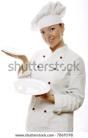 Attractive cook woman with dishes