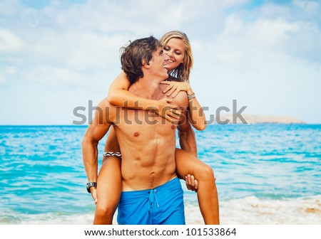 Attractive Couple on Beautiful Beach