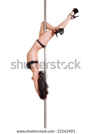 attractive dancer on the pole in beautiful pose. isolated on white background - stock photo