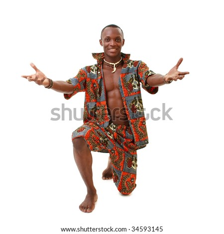 Attractive dancer standing on a white background
