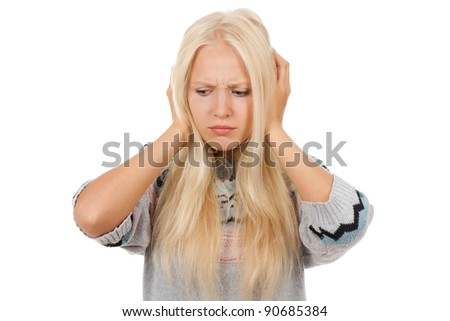 attractive depressed teenage girl hold hands on head, wear knitted warm sweater, isolated over white background concept of sad young pretty woman, problem worried hopeless student
