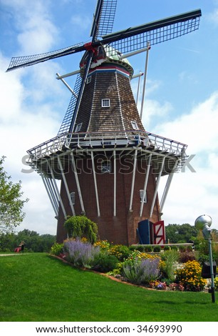 Attractive Dutch working windmill, in Holland, Michigan