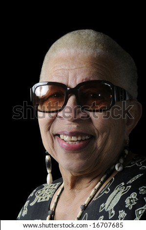 Attractive Elderly African American Woman isolated on black