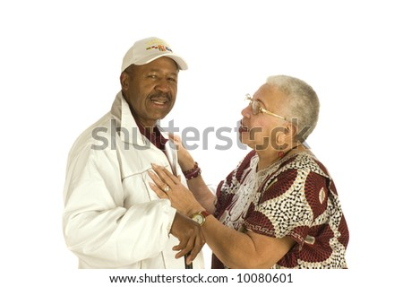 Attractive Elderly African American Woman talking to African American man isolated on white