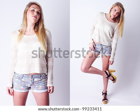 Attractive Fashion model posing in contemporary trendy outfit with high heels.