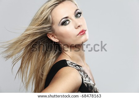 Attractive fashion model with long blond hair.