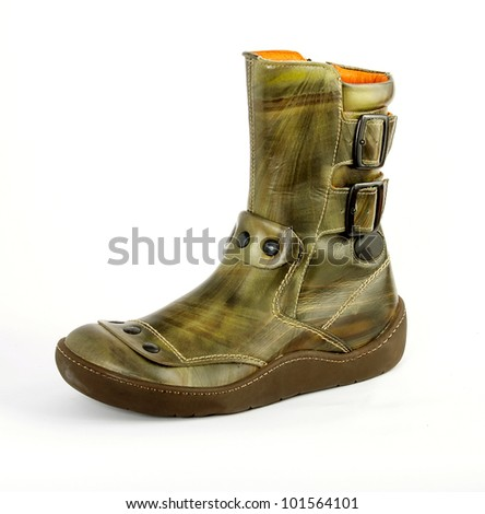 Attractive fashionable boots, Shoes from a genuine leather on a poliuretanovy sole. man's, female, children's. Green. On a white background, separately