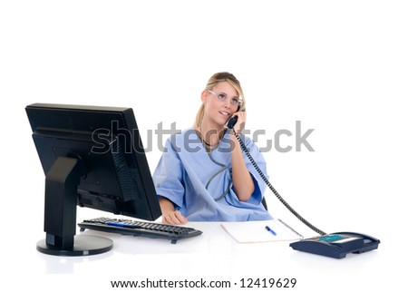 Attractive female doctor making phone call with patient, white background,  studio shot.