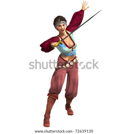 attractive female fantasy pirate with sword. 3D rendering over white