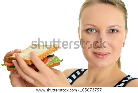 Attractive female with sandwich, isolated on white