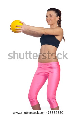 attractive fit woman exercise with small ball isolated