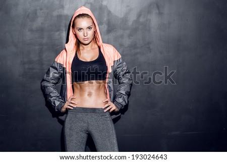 Stock Photo attractive fitness woman, trained female body, lifestyle portrait, caucasian model