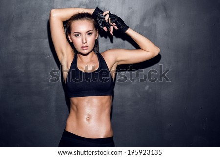 Stock Photo attractive fitness woman, trained female body, lifestyle portrait, caucasian model